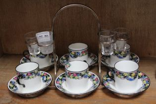 A PLATED FRAMED ROYAL DOULTON 6 PERSON EXPRESSO & SHOT SET