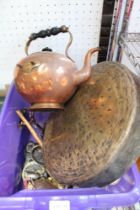 A CRATE OF DOMESTIC METALWARES including copper bulbous teapot, brass gong, etc