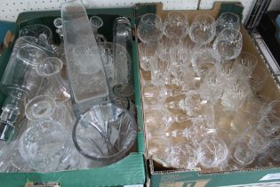 TWO BOXES HOUSING A LARGE SELECTION OF DOMESTIC GLASSWARE
