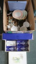 A BOX CONTAINING USEFUL DOMESTIC ITEMS to include part tea service, model animals, boxed