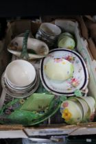 A BOX OF DOMESTIC POTTERY the majority floral decorated