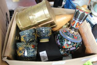 A BOX OF DOMESTIC ITEMS to include a brass handbell