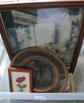 A CRATE CONTAINING PICTURES & PRINTS together with a metal wall plaque