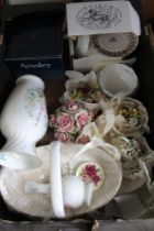 A BOX CONTAINING DOMESTIC PORCELAIN to include floral table centrepieces