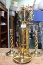 A SELECTION OF BRASSWARES to include open twist candlesticks