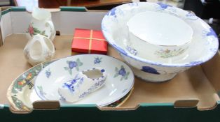 A BOX OF DOMESTIC POTTERY including Wedgwood, Doulton, Aynsley, etc