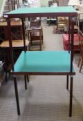 TWO SQUARE BAIZE TOPPED FOLDING CARD TABLES