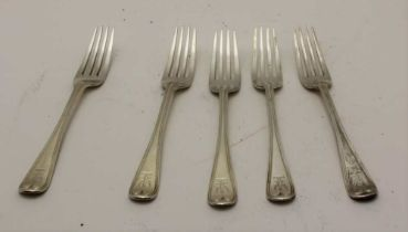 CHARLES BOYTON A set of five silver dessert forks, engraved with a spread eagle crest, London