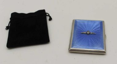 JOHN WILLIM BARRETT, AN RAF INSIGNIA SILVER & BLUE GUILLOCHE ENAMEL CIGARETTE CASE, gilded interior,