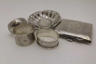 JOHN GLOSTER LTD., A SILVER CIGARETTE CASE, chased decoration, Birmingham 1911, together with a