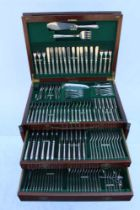 A MAPPIN & WEBB LTD QUALITY MAHOGANY FITTED CANTEEN containing an extensive selection of Princes
