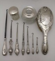 RICHARD OWEN WILLIAMS, A SILVER TOP GLASS HAIR TIDY, Chester 1921, together with; a silver lidded