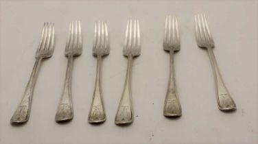 CHARLES BOYTON A set of six silver table forks, engraved with a spread eagle crest, London 1884,