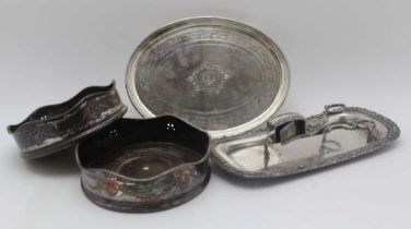 A PAIR OF GEROGE III OLD SHEFFIELD PLATE BOTTLE COASTERS, wavy rims with engraved swags with pierced