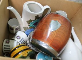 A BOX CONTAINING A WOODEN & CHROME MOUNTED BISCUIT BARREL together with pottery coffee wares, and
