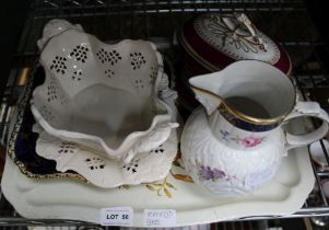 A DECORATIVE TIN TRAY CONTAINING A SELECTION OF PREDOMINANTLY 19TH CENTURY POTTERY & PORCELAIN to