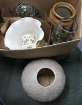 A BOX CONTAINING TWO PIECES OF IVY DECORATED GLASS and other domestic pottery
