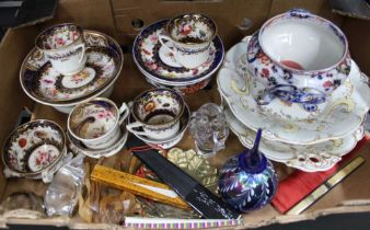 A BOX CONTAINING A SELECTION OF 19TH CENTURY FLORAL DECORATED TEA WARES, together with comports