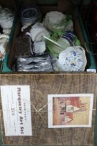 A BOX CONTAINING A SELECTION OF MIXED CHINA & GLASSWARES, together with cutlery, and a boxed