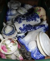 A BOX OF DOMESTIC PORCELAIN to include a pair of blue & white model dogs, in Staffordshire style