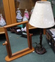 A WOODEN TABLE LAMP together with a modern pine adjustable dressing table top mirror