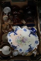 A BOX CONTAINING A SELECTION OF DOMESTIC POTTERY, to include hunting jugs, etc.