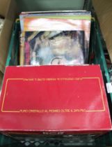 A CRATE CONTAINING 12'' RECORDS AND A BOXED SELECTION OF CRYSTAL BOWLS (crate to be returned to