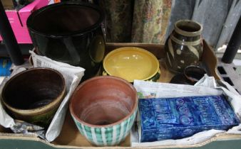 A BOX CONTAINING A SELECTION OF STUDIO TYPE POTTERY, together with an enamelled, probable Chinese