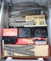 A GREY CRATE CONTAINING A GOOD SELECTION OF TRIANG RAILWAY EQUIPMENT VARIOUS
