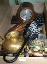 A BOX CONTAINING MANTEL CLOCKS, a selection of wooden items, etc.