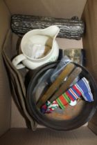 A BOX CONTAINING MEDAL RIBBONS, FLOWERS ALE JUG, and other various items