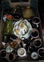 A BOX CONTAINING A SELECTION OF DOMESTIC POTTERY & GLASSWARE, to include Studio Pottery chocolate