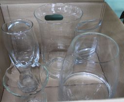 A BOX CONTAINING A SELECTION OF LARGE SIZED GLASS VASES