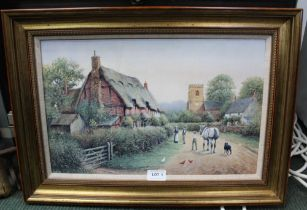 AN OLEOGRAPH PRINT OF CHURCH LANE by R. Simm, having hessian fillet and moulded gilt frame