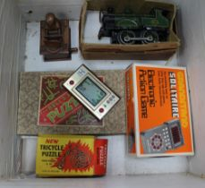 A VINTAGE FILING BOX CONTAINING COLLECTABLE CHILDREN'S TOYS & GAMES, Japanese wooden toy, 80's