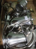 A BOX CONTAINING A SELECTION OF DOMESTIC METALWARES to include a modernist part tea service, by