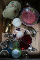 A BOX CONTAINING SILVER PLATED AND PORCELAIN ITEMS VARIOUS, to include Maling and Beswick