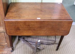 A 19TH CENTURY MAHOGANY PEMBROKE TABLE having twin opposing dummies, on four turned legs with