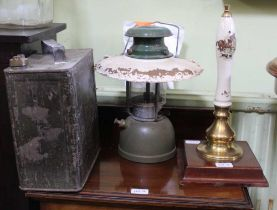 A VINTAGE TILLEY STYLE LAMP together with a fuel can, and a beer pump, transfer decorated with