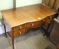 AN EDWARDIAN MAHOGANY LADIES WRITING TABLE with plain top, having single central drawer, flanked