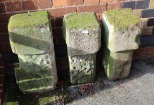 THREE SHAPED COTSWOLD STONE COLUMNS