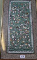 AN ORIENTAL SILK PANEL depicting the '100 boys'