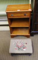 A WOOLWORK PAD TOP BOX FORMED FOOT STOOL together with a reproduction yew wood finished bedside unit