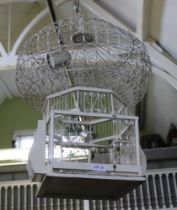 A WHITE PAINTED WOOD & WIRE WORK DECORATIVE BIRDCAGE