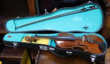 A VINYL CASED VIOLIN & BOW bearing the trade label Antonius Stradivarius