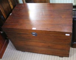 AN ORIENTAL DESIGN MAHOGANY FINISHED BOX CHEST