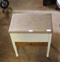 A PART PAINTED OAK WORK BOX, with lift-up lid and single drawer