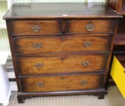 A 19TH CENTURY MAHOGANY FINISHED CHEST OF FIVE DRAWERS supported on short bracket feet