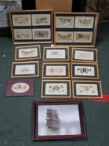 A COLLECTION OF GLAZED & FRAMED WWI SILK POSTCARDS