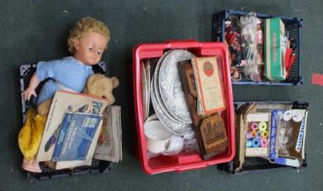 FOUR PLASTIC CRATES OF DOMESTIC COLLECTABLES VARIOUS